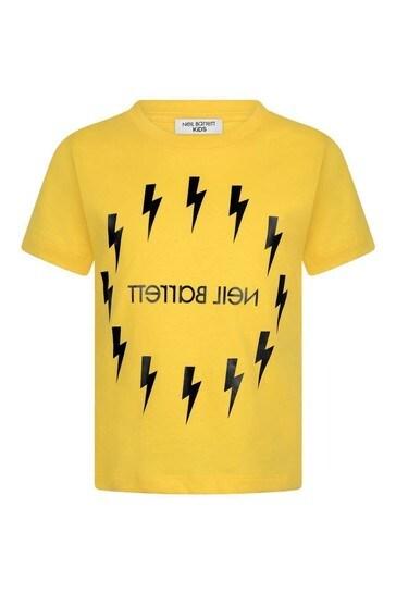 Boys Yellow Cotton Logo Lightning Bolt Print T-Shirt