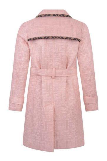 걸스 핑크 FF 로고 트렌치 코트