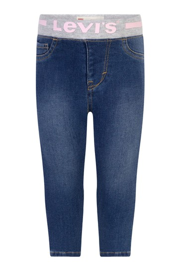 Baby Girls Blue Cotton Skinny Fit Pull-On Jeans