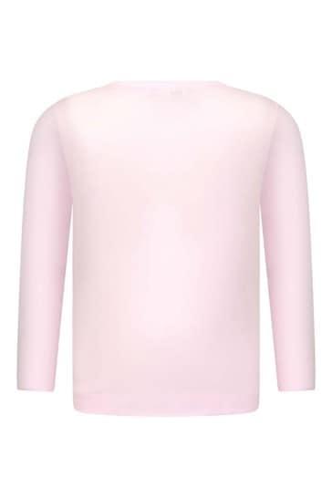Girls Pink Cotton Long Sleeve Logo T-Shirt