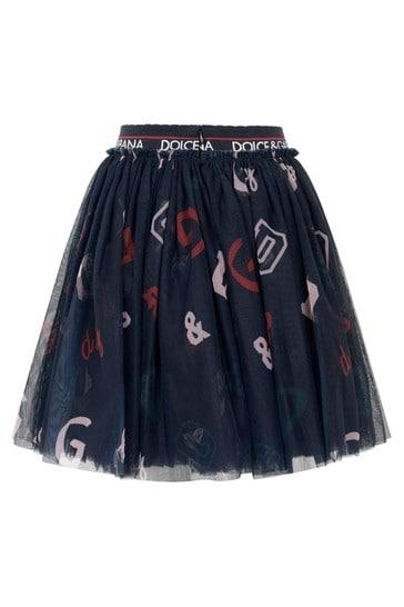 Girls Navy Tulle Embroidered Skirt