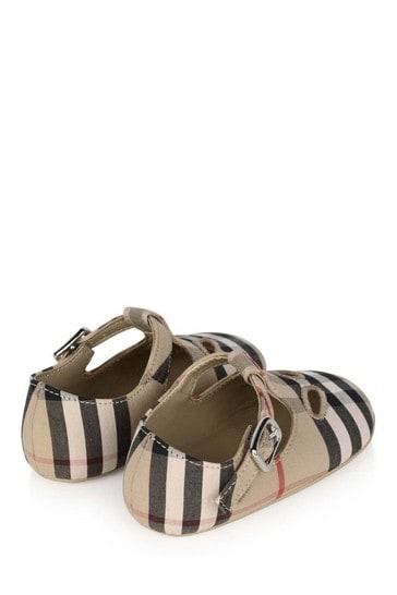 Baby Beige Vintage Check Cotton Pre-Walker Shoes