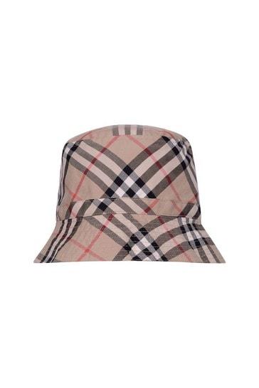 Kids Beige Vintage Check Cotton Hat