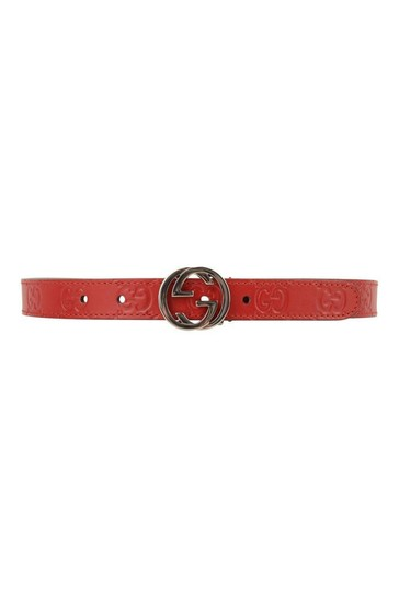 Red GG Leather Belt
