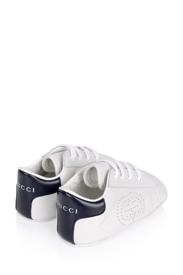 Baby White And Blue Leather New Ace Pre-walker Shoes