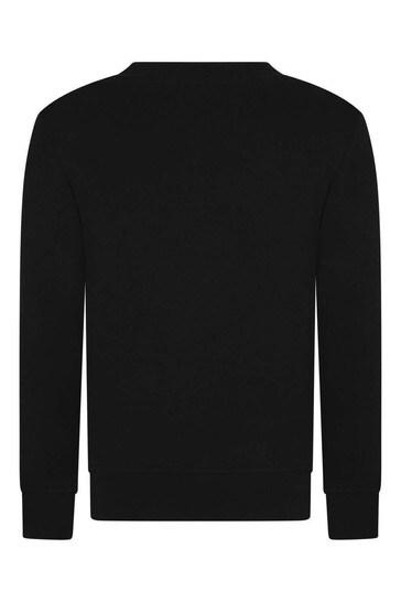 걸스 블랙 코튼 스팽글 로고 스웨터
