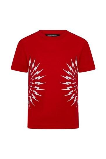 레드 코튼 티셔츠