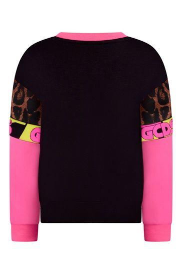 Girls Bright Pink & Leopard Print Inserts Cotton Sweatshirt