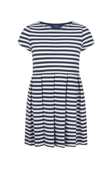 Girls Navy/White Cotton Dress