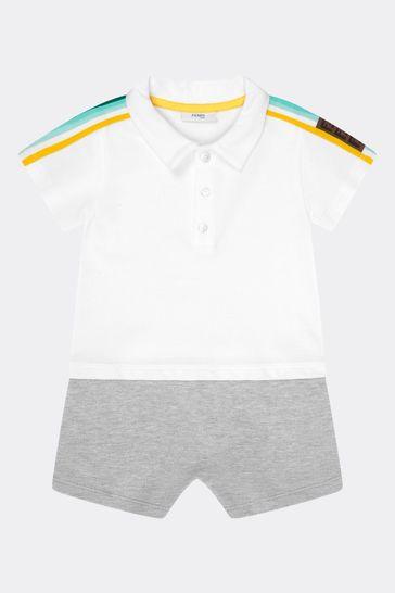 Baby Boys White Cotton Shortie Romper