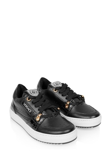 Boys Black And Gold Leather Trainers