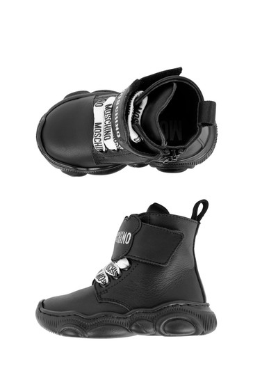 Kids Black Leather Teddy Boots