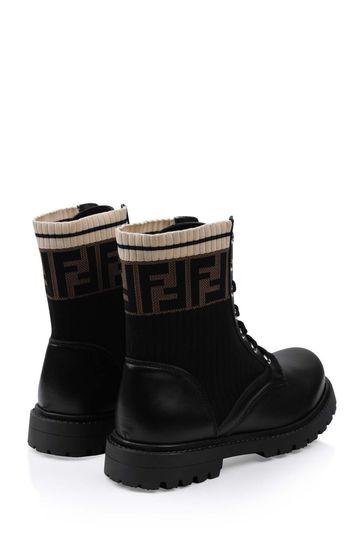 Kids Black/Brown Logo Leather Boots