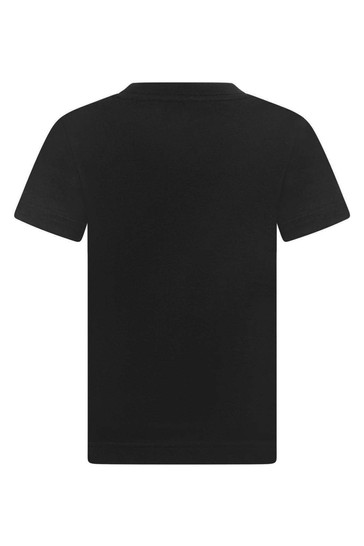 Boys Black Cotton Batwing Logo T-Shirt