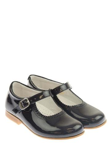 Girls Navy Scalloped Edge Mary Jane Patent Shoes