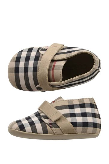 Baby Beige Vintage Check Cotton Shoes