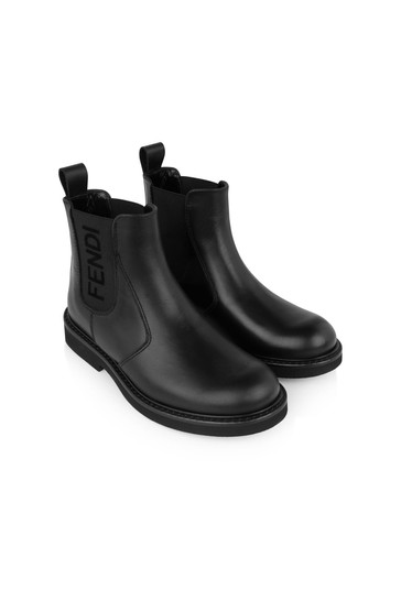 Boys Black Leather Ankle Boots