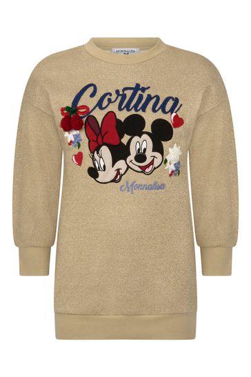Girls Gold Glittery Minnie™ & Mickey™ Dress