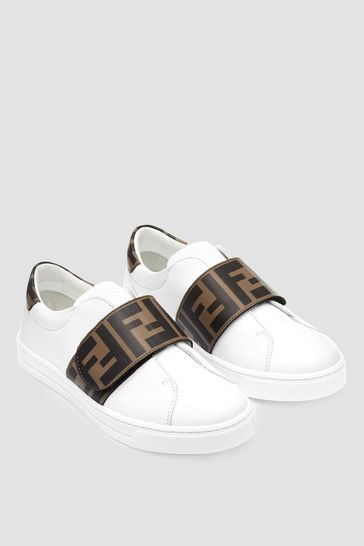 Kids Leather Logo Trainers
