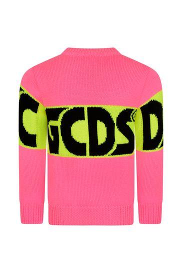 Girls Bright Pink Knitted Logo Jumper