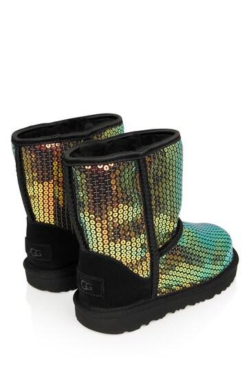 Girls Black Sequins Classic Boots