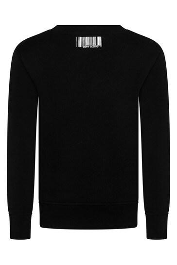 보이즈 블랙 코튼 로고 프린트 스웨트셔츠
