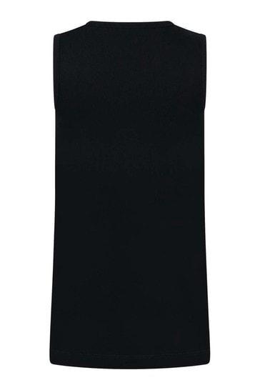 Girls Black Cotton Sleeveless Dress
