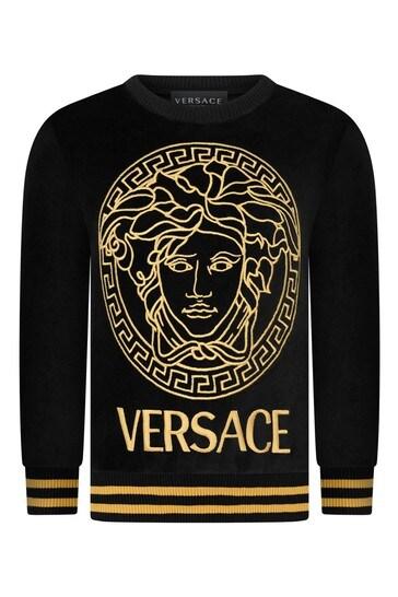 Girls Black Cotton Logo Sweater