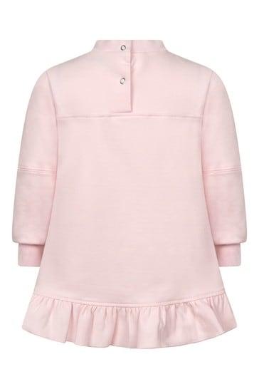 Baby Girls Pink Cotton Flower Bow Dress