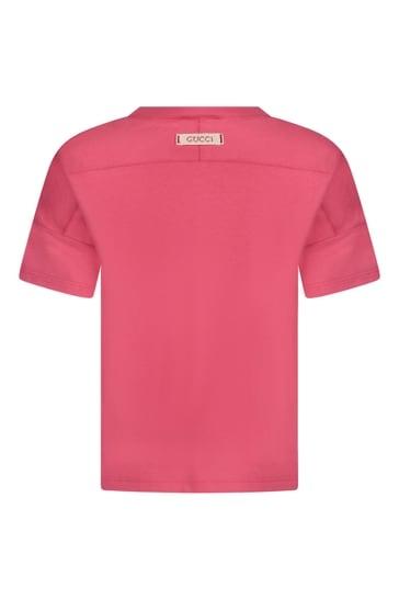 걸스 핑크 코튼 펠린 프린트 티셔츠