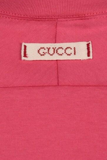 Girls Pink Cotton Feline Print T-Shirt