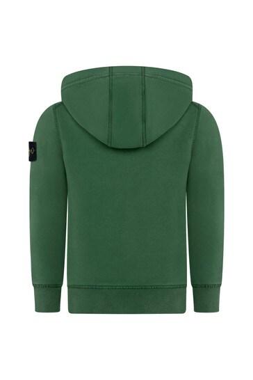 Boys Green Cotton Zip Up Top
