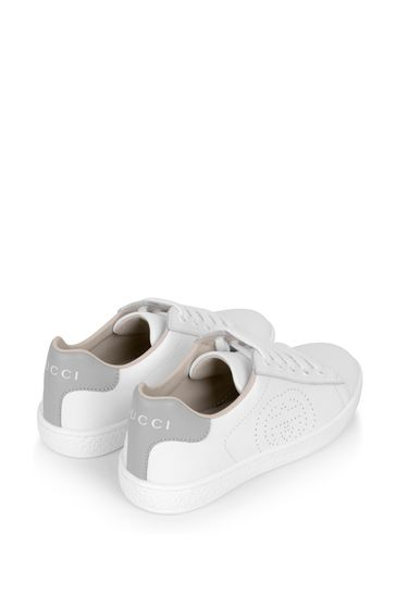 White Leather New Ace Lace-Up Trainers