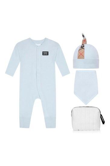 Baby Boys Blue Check Cotton Set