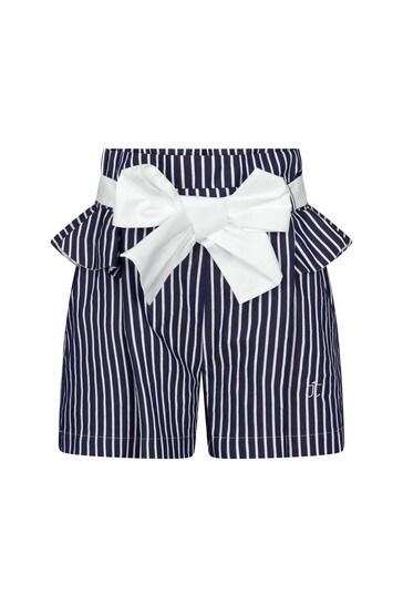 Girls Navy Frilly Shorts