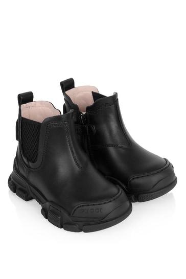 Kids Black Leather Leon Booties