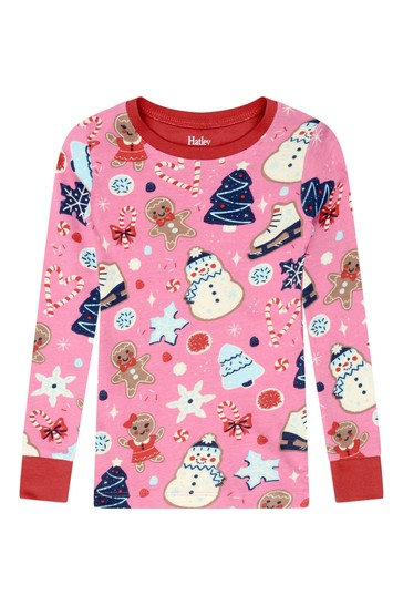 Girls Organic Cotton Bright Pink Pyjama 2 Piece Set