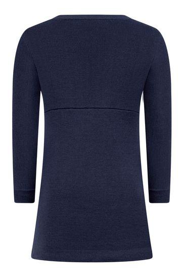 Girls Navy Wool Logo Dress