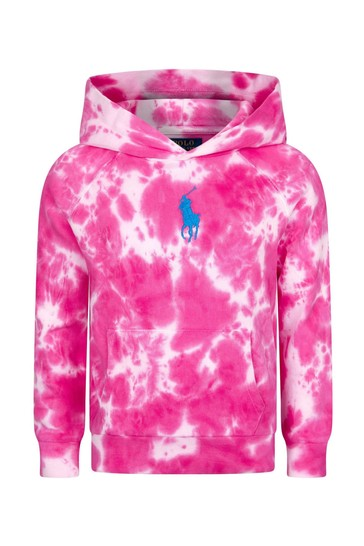 Girls Pink Cotton Hoodie