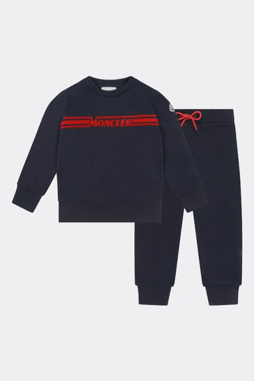 Boys Navy Cotton Logo Tracksuit