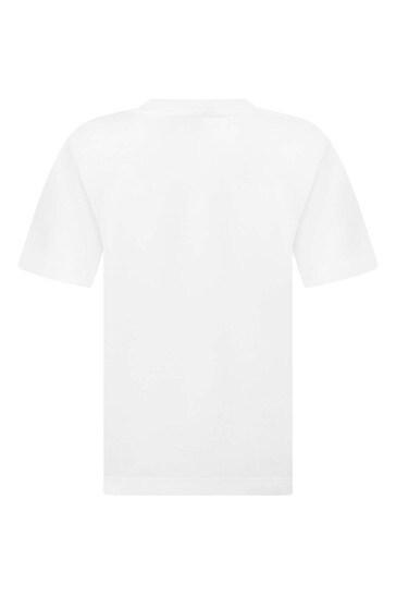 보이즈 화이트 코튼 로고 티셔츠