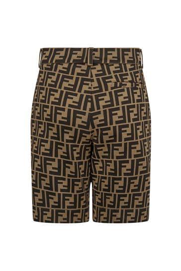 Boys Brown FF Logo Bermuda Shorts