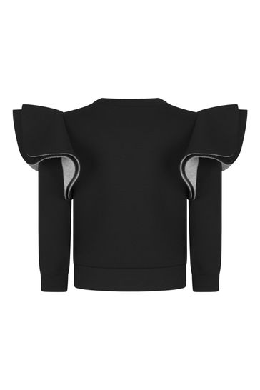Girls Black Sequins Sweater