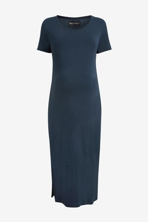Navy Maternity Jersey T-Shirt Dress