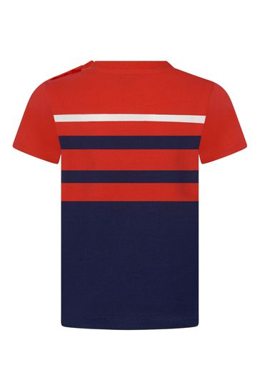 Moschino 베이비 보이즈 레드 코튼 티셔츠
