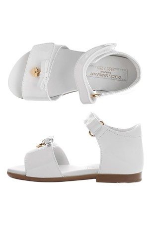 Girls White Patent Leather Sandals