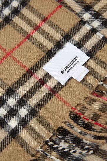 Kids Beige Vintage Check Wool Scarf