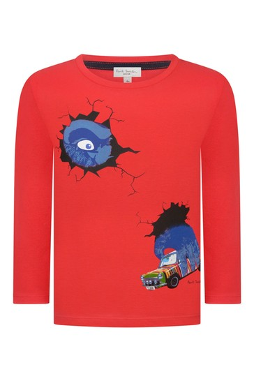 Boys Red Cotton T-Shirt