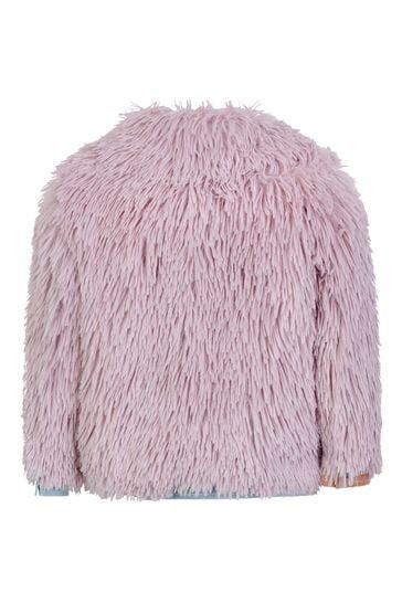걸스 핑크 인조 모피 재킷