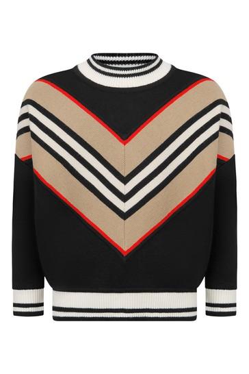 Boys Black Icon Stripe Wool Jumper